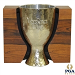 Silverplate Vardon Cup w/ Embossed Lettering & Hammered-Like Surface in Wood Case