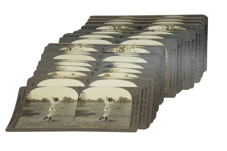 Original Keystone View Co. Stereo-graph w/ Large Assortment of Time-Period Golf Slides / Pictures