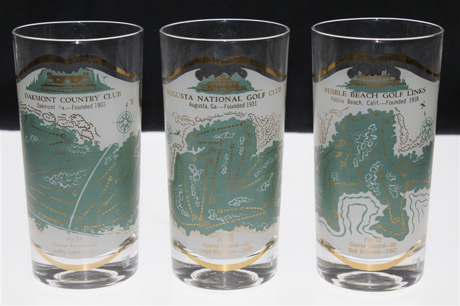 Set of 6 Famous Golf Course Glass Tumblers - Oakmont, Mid-Ocean, Oakland Hills, Pebble Beach, August National and Baltusrol