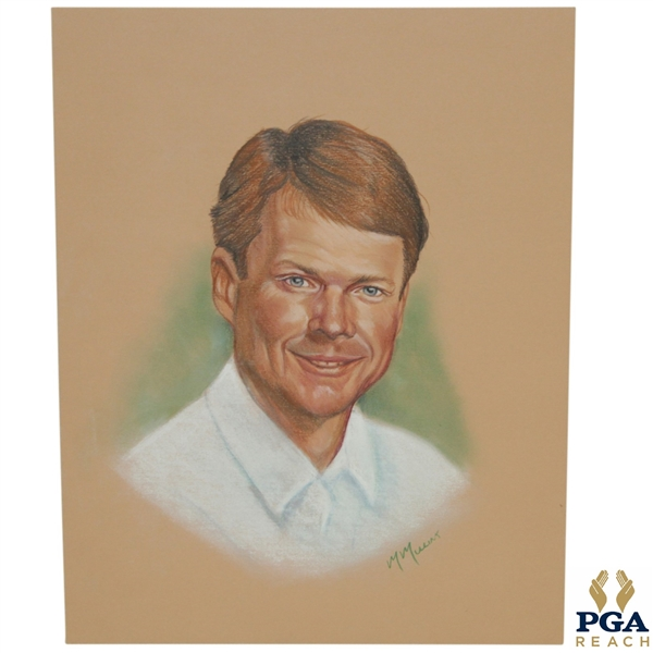 Tom Watson Ryder Cup Captain Pastel Drawing Signed by Artist M. Mullins