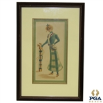 Framed and Matted Time-Period Lady Golfer Artists Depiction