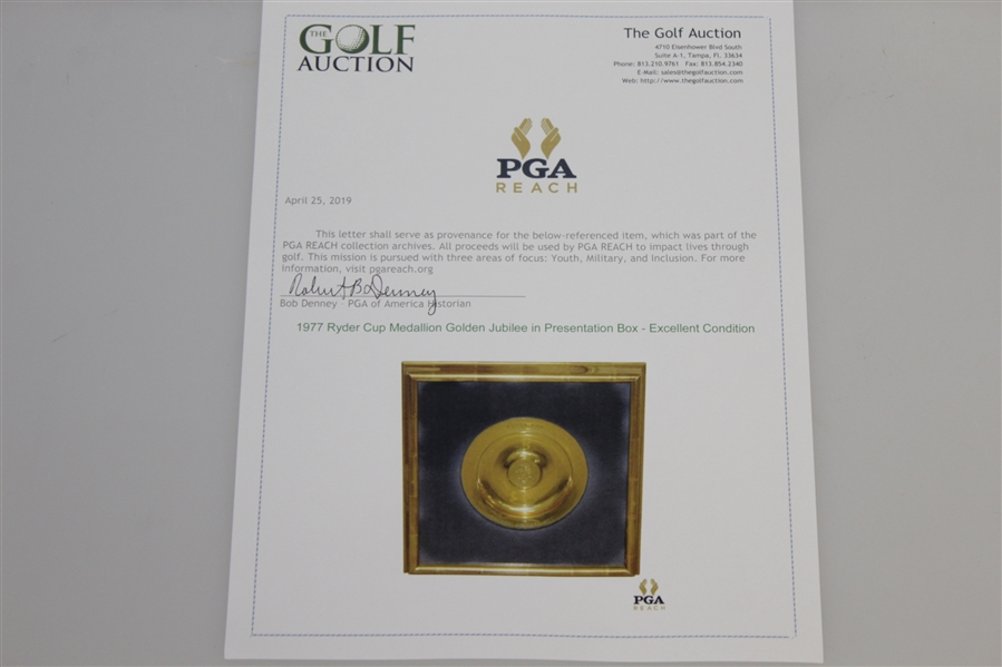 1977 Ryder Cup Medallion Golden Jubilee in Presentation Box - Excellent Condition