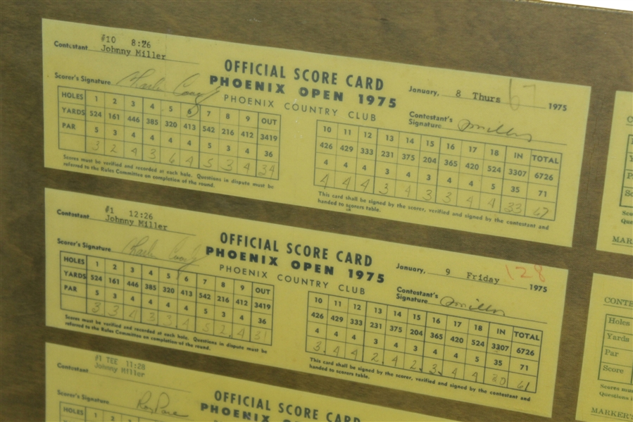 Johnny Miller's Record 49 Under Par 1975 Score Cards from Phoenix & Tucson Open - Consecutive Events JSA ALOA