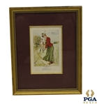 The Game of Golf Print of Lady in Dress w/ Caddie Looking on