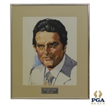 18th President of PGA William Clarke Watercolor Portrait Signed By Artist Drake