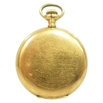 1899 Notts Golf Club Gifted Gold Watch To Tom Williamson - High Place in Open Championship