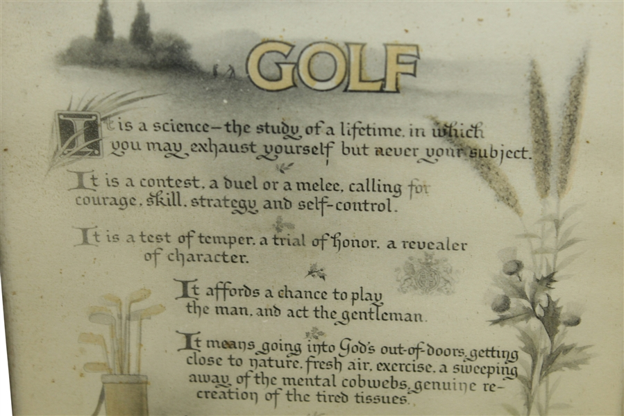 David A. Forgan 'Golf' Quote Lithograph Print Published by Reinthal & Newman, NY