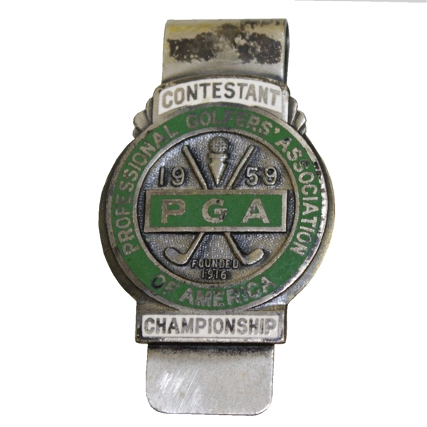 1959 PGA Championship at Minneapolis GC Contestant Badge - Bob Rosburg Winner