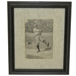 A.B. Frost Black and White Post Swing Golfer with Sand Tee Box Print - Framed