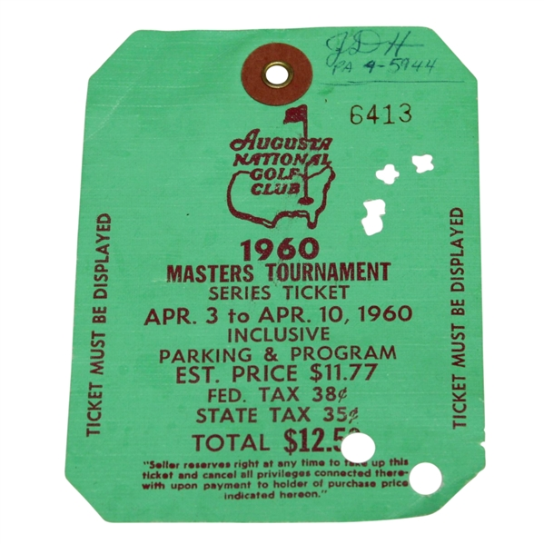 1960 Masters Tournament SERIES BADGE #6413 - Arnold Palmer Winner