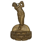 Cast Iron Lady Golfer w/ Hat Standing Atop Cobblestone Perch Bookend - Vintage