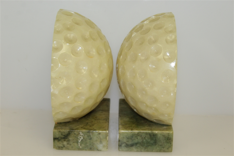 Stone Dimple Golf Ball Bookends with Marble Base