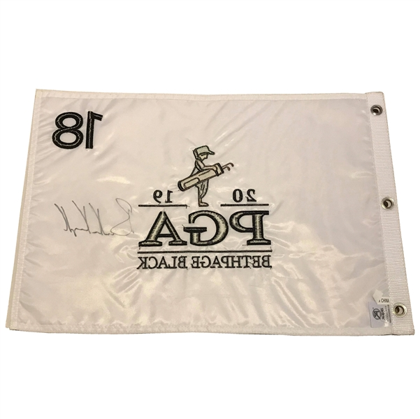 Brooks Koepka Signed 2019 PGA Championship at Bethpage Black Embroidered Flag!