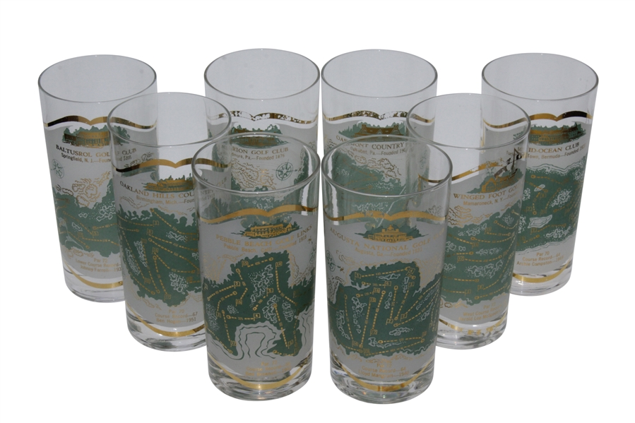 Set of 8 Famous Golf Course Glass Tumblers - Oakmont, Mid-Ocean, Oakland Hills, Pebble Beach, August National and Baltusrol etc.