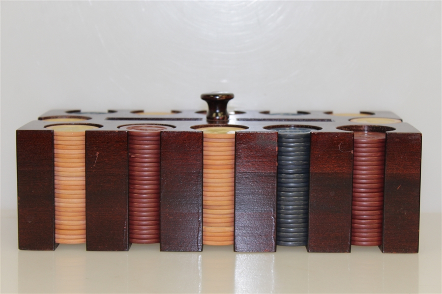 Classic Set of Clay Golfer Themed Poker Chips in Wood Box