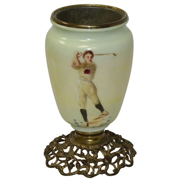 Golf Themed Painted Vintage Glass Table Lamp