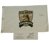 Angel Cabrera Signed 2007 US Open at Oakmont Flag and Official Scorecard JSA ALOA