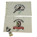 Retief Goosen Signed 2001 & 2004 US Open Embroidered Flags & Credentials JSA ALOA