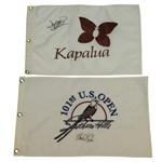David Duval & Marks Brooks Signed Flags - Kapalua & Embroidered 2001 US Open JSA ALOA