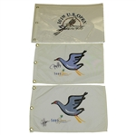 2001 US Open Embroidered Flag & Song Open Flags Signed by Sluman & Kelly JSA ALOA