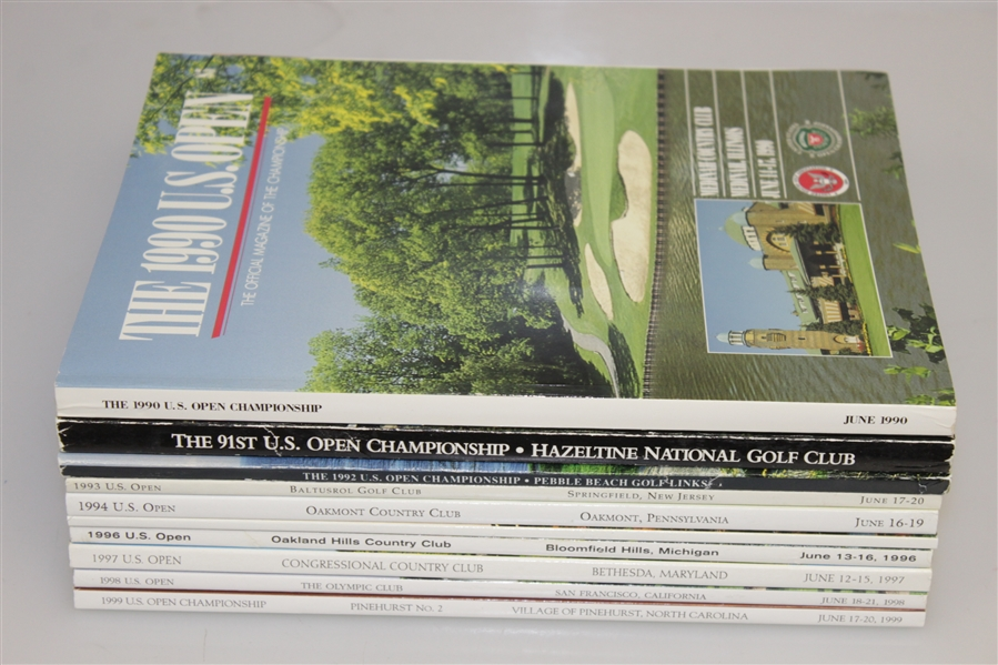 1990 - 1999 US Open Programs Grouping - Victories of Stewart, Els, Janzen Etc.