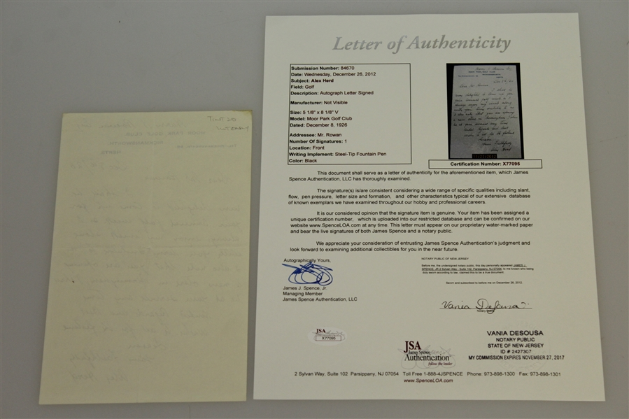 Alex (Sandy) Herd Signed Handwritten Letter - 1902 Open Champ JSA Full Letter #X77095