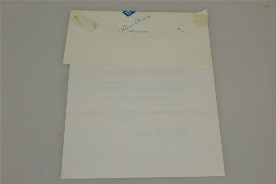 Bing Crosby Signed 1969 Letter to C. Penna w/ Envelope - Seminole Content JSA ALOA