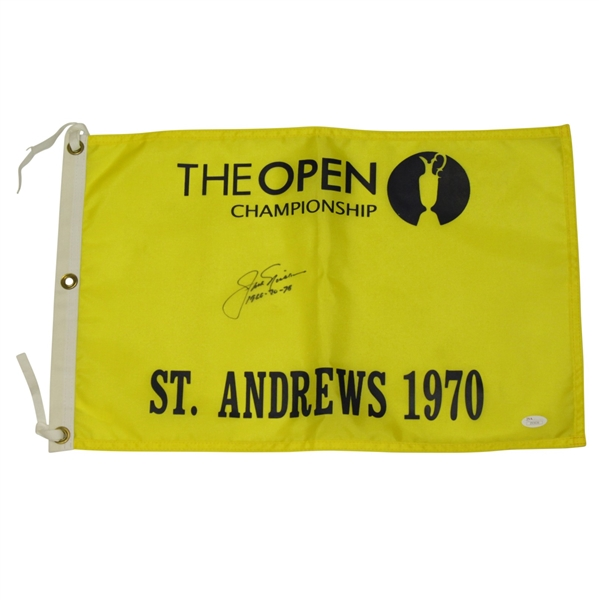 Jack Nicklaus Signed 1970 Open Championship Flag at St Andrews w/ '1966-70-78' Inscription JSA Full Z93636