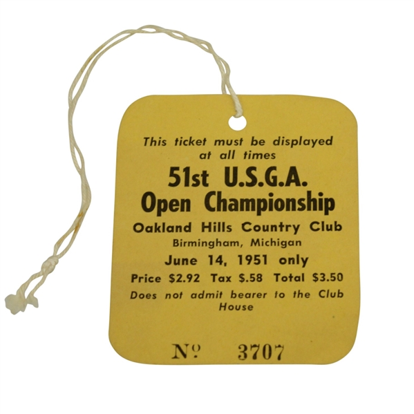 1951 US Open Championship at Oakland Hills Ticket in Excellent Condition - Ben Hogan Winner