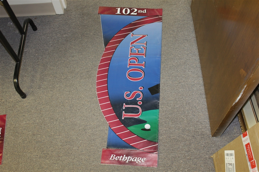 2002 Us Open at Bethpage Black Used Double Sided Banner - Tiger Woods Win