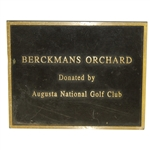 Berckmans Orchard Donated by Augusta National Golf Club Solid Bronze Plaque