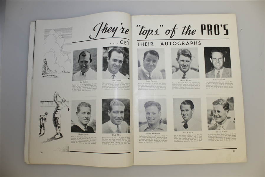 1939 US Open at Philadelphia CC Program - Byron Nelson Winner