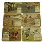 Perrier Golf Rule Coaster Set w/ Illustrations By Charles Crombie - Reproductions of Prints Circa 1905