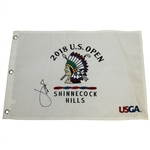 Jordan Spieth Signed 2018 US Open at Shinnecock Hills Embroidered Flag FULL JSA #Z27622