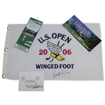 Geoff Oglivy Signed 2006 US Open at Winged Foot Flag w/ Ticket, Scorecard & Pairing Guide JSA ALOA