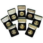 Grouping of Memorial Tournament Honoree Medallion Coins in Leather Boxes - 8 in All