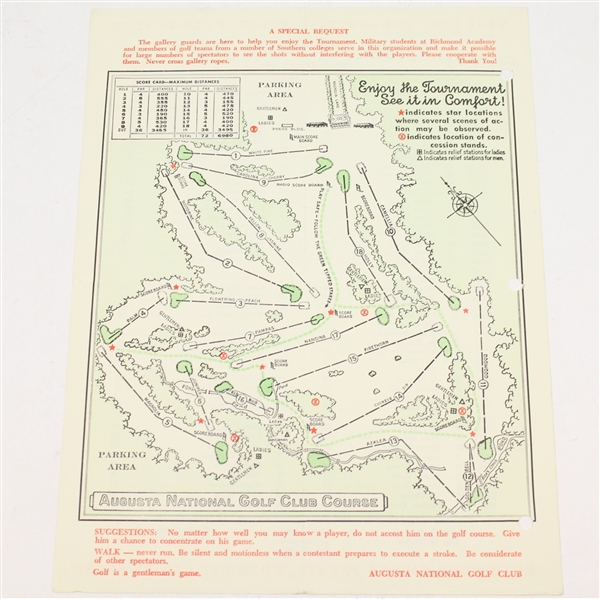 1958 Masters Tournament Friday Pairing Sheet - Palmer First Masters Win