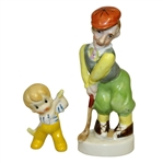 Pair of Vintage Japanese Hand Painted Porcelain Golfers - One on Base