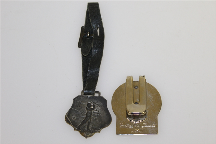 1962 PGA Golf Day Medal, Golf Tie Clip, 2004 Constellation Energy Clip, & Metal Golfer with Clasp