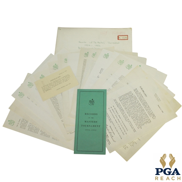 1953 Masters Lot - Records Booklet & Misc. Correspondence