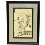 Walter Hagen Signed Cutout and Matte Display with Best Wishes, March 13th, 1930 JSA FULL