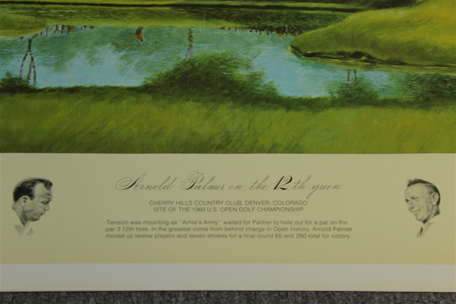 Cherry Hills 1960 US Open Arnold Palmer Print by Donald Moss & Commemorative Badge