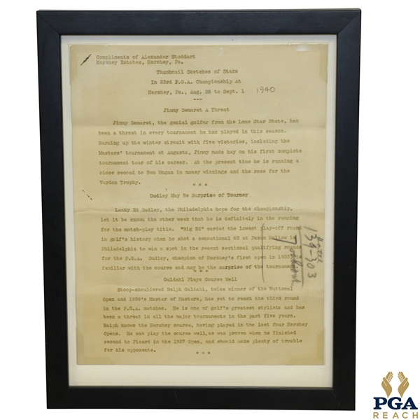 1940 PGA Championship at Hershey CC 'Thumbnail Sketches of Stars' Original Press Release - Demaret, Dudley & Guldahl Content