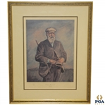 1970 Tom Morris with Club & Pipe Framed The Old Golf Shop Print Ltd Ed 424/500