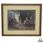 The Last to Play Print Signed by F. M. Bennett - Four Golfers Practicing Putting in a Pub 1930