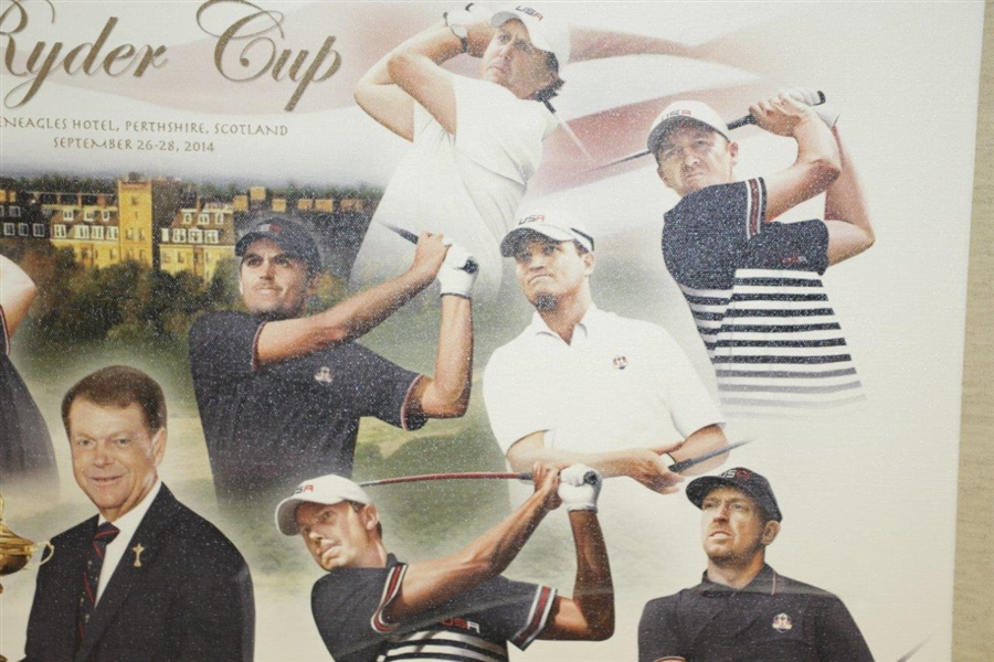 2014 Ryder Cup Team Signed Canvas by T. Watson, Spieth, Mickelson, Fowler, Reed Etc. FULL JSA #Z91304