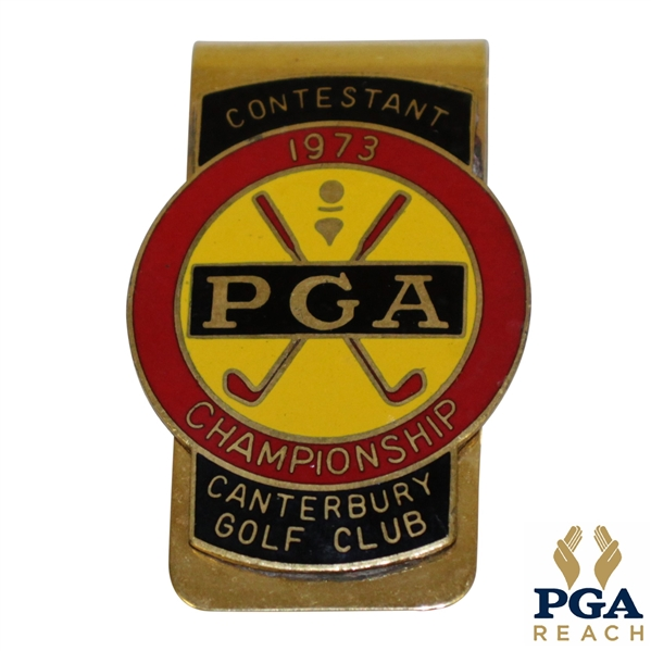 1973 PGA Championship at Canterbury GC Contestant Badge - Jack Nicklaus Winner