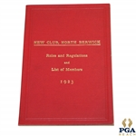1923 North Berwick New Club Rules & Regulations and List of Members Booklet