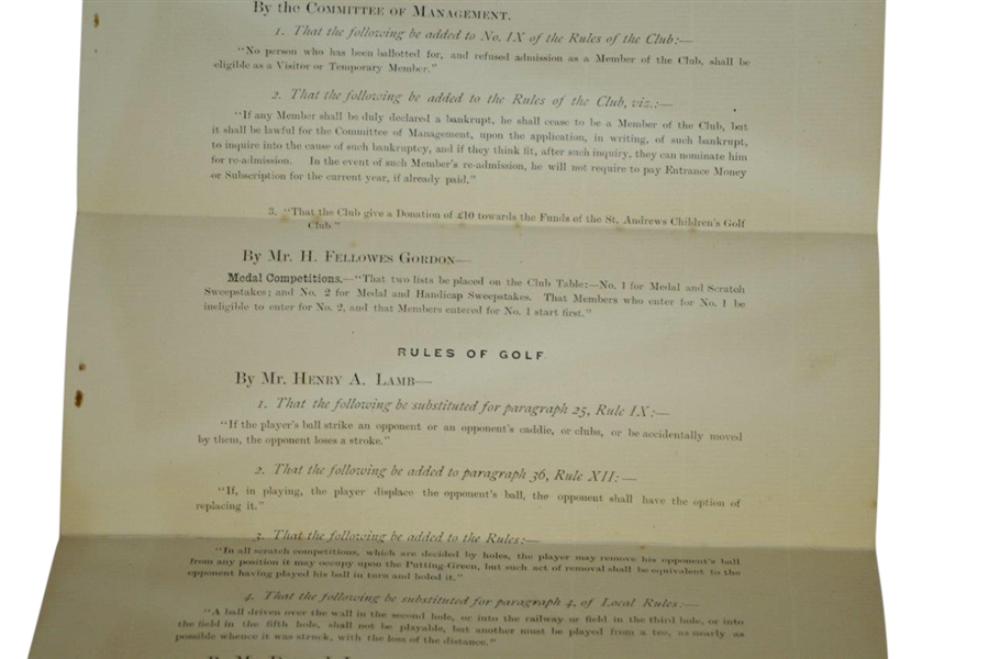 1891 Royal & Ancient Golf Club of St. Andrews Notice of Autumn Meeting - September
