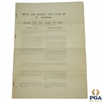 1891 Royal & Ancient St. Andrews Rules for the Game of Golf as Revised by The Special Committee